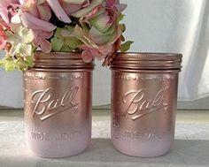 Set of 2 Rose Gold and Blush Pink Mason Jars Centerpieces, Rose Gold Decorations, Rose Gold Wedding, Rose Gold Bridal Shower, Rose Gold Vase - Wedding table decor (*Amazon Partner-Link)