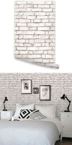 Brick White Peel & Stick Wallpaper