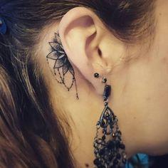 behind the ear mandala tattoo
