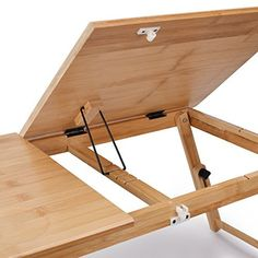 Laptop Desk Adjustable Bamboo Breakfast Serving Bed Tray Tilting Top with Drawer Our Supplier's Product Description: The Juns bamboo lap desk is well designed and made from a natural finish, which is not only eco-friendly but also as durable . Pallet Furniture, Furniture Projects, Wood Projects, Wooden Laptop Stand, Overbed Table, Room Design Bedroom, Bed Tray, Lap Desk, Adjustable Desk
