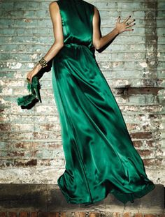 Up against it. #Green #Satin #Gown #Emerald