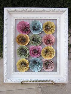 Framed rolled roses *My Little Shoebox* - Scrapbook.com