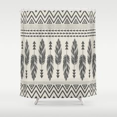 Buy Shower Curtains featuring Tribal Feathers-Black & Cream by Bohemian Gypsy Jane. Made from 100% easy care polyester our designer shower curtains are printed in the USA and feature a 12 button-hole top for simple hanging.