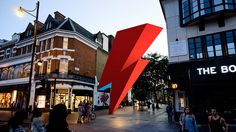 A new artwork inspired by the lightning flash that covered David Bowie's face on the cover of _Aladdin Sane_ has been proposed for Brixton, where the artist was born in David Bowie, Aladdin Sane, Underground Tube, Creative Review, Ziggy Stardust, South London, Lightning Bolt, Brixton, The Neighbourhood