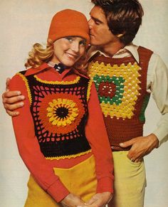 crocheted clothing items. I had a crocheted vest like these, but the color design was different.