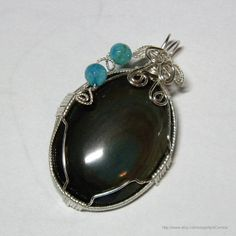 Wire Wrapped Rainbow Obsidian Pendant by PrayerfullyMade4You, $49.99