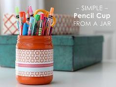 Simple pencil cup from a jar via @modpodgerocks