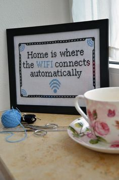 Home Wifi Cross Stitch Cross Stitch Designs, Cross Stitch Patterns, Cross Stitching, Cross Stitch Embroidery, Cross Stitch Quotes, Needlework, Blackwork, Filet Crochet, Crossstitch
