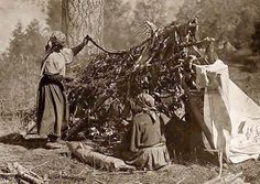 Here for your perusal is a highly creative photograph of Indians Drying Meat. It was created in 1910 by Edward S. Curtis.    The photo illustrates Two Salish women drying meat on a stick frame.    We have compiled this collection of photographs mainly to serve as a valuable educational resource. Contact curator@old-picture.com.