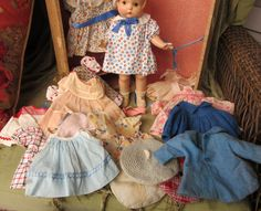 Effanbee Compo Patsy with Trunk of Original Clothing from onceagainantiques on Ruby Lane