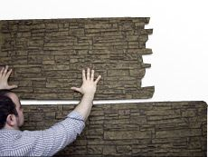 Installing faux stone panels in your home as wainscoting or an accent wall can be simple. Faux Panels, Stone Panels, Fake Stone, Brick And Stone, Faux Stone Walls, Family Room Walls, Stone Wallpaper, Leather Wall, Accent Wall Bedroom
