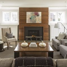 the fireplace wood is a custom stained walnut done in shiplap martha ou0027hara interiors