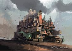 Enjoy the Art of Mortal Engines in a Concept Art Collection by Ian McQue. Ian is a concept artist/illustrator. Fantasy World, Fantasy Art, Mortal Engines, Post Apocalyptic Art, Visual Development, Environmental Art, War Machine, Sci Fi Art, Game Art