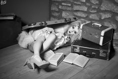 Stowaway. Broken Doll themed creative shoot with Bang Tidy Photography, White Rabbit MUA, Stephy H modelling. vintage suitcase books