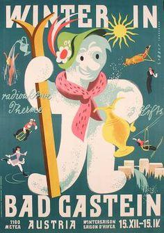 Winter in Bad Gastein. Austria - Sommer, Karl Österreich to 1959 Vintage Ski, Vintage Winter, Retro Poster, Vintage Travel Posters, Harry Potter Poster, Tourism Poster, Ski Posters, Ski Vacation, Retro Illustration