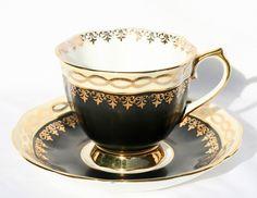 Royal Albert Black Gold Fleur de Lis Cup and Saucer Vintage | eBay