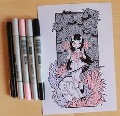 Inktober 2017 day Kappas and Eunbooh by Paulinaapc on DeviantArt Posca Art, Arte Sketchbook, Cute Art Styles, Poses References, Marker Art, Pretty Art, Copics, Aesthetic Art, Ink Art