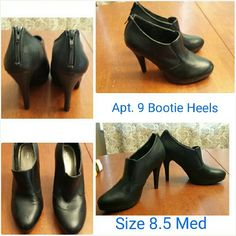 """Black bootie heels Size 8.5 Trendy black faux leather bootie heels. Size 8.5 medium. Heel is 4"""" tall. Working zipper in the back. Like new condition, only sign of wear is on the back left heel, two little indents which you can't really see, no scuffs or peeling. Great pair of boots. Dress them up for work or go casual with jeans. Great design and quality. Apt. 9 Shoes Ankle Boots & Booties"""