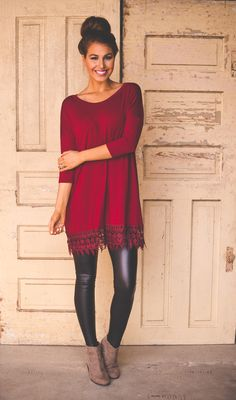 Short Sleeve Lace Trim Tunic- Maroon - Dottie Couture Boutique