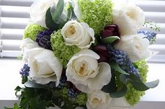 The Flower Magician: Patience Roses & Grape Hyacinth Wedding Bouquet