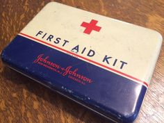Vintage Johnson and Johnson First Aid Kit Metal Tin First Aid Kit by PaintedLadyAntiques on Etsy