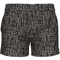 Holmes & Yang black and white open fabric shorts ($590) ❤ liked on Polyvore