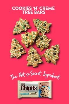 'Tis the season to share in the baking. These CHIPITS Cookies 'n' Creme bars are one of our favs. Christmas Goodies, Christmas Treats, Holiday Treats, Holiday Recipes, Xmas Desserts, Cookie Desserts, Cookie Recipes, Christmas Tree Cookies, Xmas Cookies
