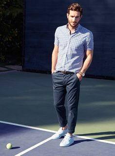 Preppy prints with Justice Joslin. Le 31 Micro-Print Cuff Gingham Shirt, Polished Urban Pant & Adidas Sam Smith Sneakers | La Maison Simons. #menswear #style