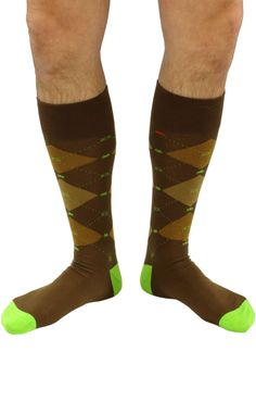 "Officially licensed ""Space Invaders"" themed premium cotton dress socks in brown. #soxfords #geek #socks #gaming"