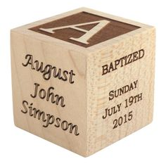 Palmetto Wood Shop offers personalized baby baptism and dedication wooden blocks for sale, the perfect keepsake gift for your little one's baptism.