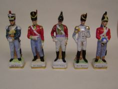 vintage group of five old porcelain military figures battle of Waterloo 1815 Waterloo 1815, Battle Of Waterloo, Group Of Five, Military Figures, Porcelain, Antiques, Fictional Characters, Vintage, Figurine