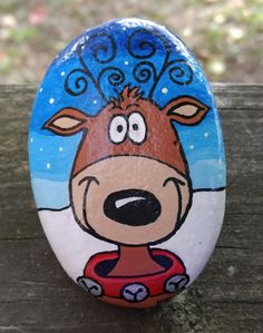Painted Christmas Reindeer Rock
