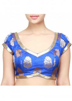 Blue blouse featuring in lurex piping and puff sleeve only on Kalki