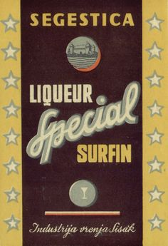"""Label design by famous Ozeha's designer Vladimir Fleck from 1952 for liqueur """"Special Surfin""""  for Croatian alcoholic drinks factory Segestica Sisak. Source: catalog for the exhibition Unknown inheritance- a collection of packaging of City Museum Sisak, 2016"""