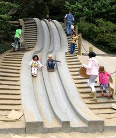 Koret Children's Quarter in Golden Gate Park. A cement slide, rope climbing structure and a carousel.family-friendly, kid-friendly place to go. Playground Design, Outdoor Playground, Playground Slides, Children Playground, Park Playground, Natural Playground, Urban Furniture, Street Furniture, Urban Landscape