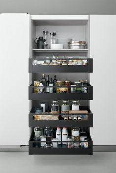 How to organise your kitchen space, Products - Arclinea - Tall unit with Blum deep internal drawers #kitchen #storage #pantry