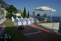 A small town hall with a private terrace overlooking the sea for a dream wedding in Positano, Amalfi Coast.
