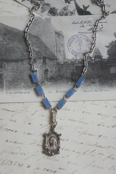 Blu Skies of Heaven-Vintage assemblage necklace by frenchfeatherdesigns