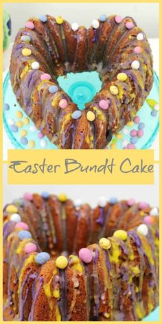 Mini Egg bundt cake recipe - a colourful Easter cake perfect for your celebrations, with Mini Eggs and decorated with colourful pastel icing via Mini Eggs Cake Recipes, Easter Recipes, Top Recipes, Baking Recipes, Creme Egg, Easter Cake, Easter Colors, Food To Make, Icing
