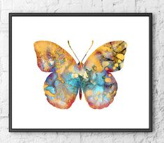 Art Print Butterfly Watercolor Painting, Insect Art, Butterfly Art, Buttrefly Illustration Art, Home Wall Decor - 68A