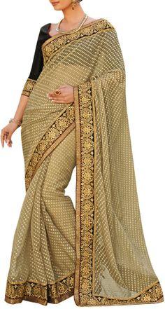 Brasso saree with gold thread sari work. original pin by @webjournal