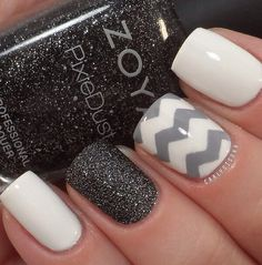 Very cool Nails for fall ! Creative and sexy. Will go with any outfit! #nail #Beauty #Fashion #pmtsogden #paulmitchellschools #cute #nails #nailart #love #manicure #beautiful #cute #shimmer #glitter #stripes #gray #white #black http://weheartit.com/entry/80618130 www.AmplifyBuzz.com