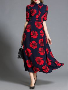 Shop Maxi Dresses - Street Short Sleeve Floral Maxi Dress online. Discover unique designers fashion at StyleWe.com.