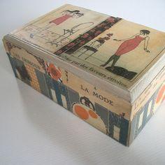 decoupaged box with 1920's fashion print