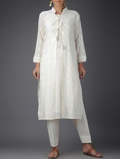 Ivory Cotton Jacket with Slip and Tie-Up Waist Salwar (Set of 3) on Jaypore.com