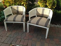 Pair of vintage barrel-style cane chairs by BellaVtgfurnishings