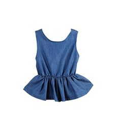 Jeansian Girl Sweety Cute Denim Vest with Floral Shorts Dress Two Sets CG031 DarkBlue 130 >>> Read more reviews of the product by visiting the link on the image.