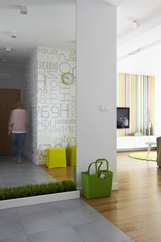 Apartment in Warsaw by Widawscy Studio Architecktury - we like the graphics seen on 2 different walls