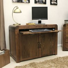 Home Office Desk | Shiro Walnut Furniture Collection | Hideaway Desk