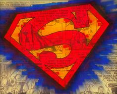 Superman Logo Blurred Pen and Ink Colored Illustration PRINT various sizes available comic book man of steel graphic novel symbol hero by WyldTrees on Etsy